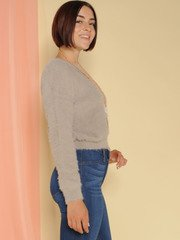 Lenora Sweater Furry Grey Long Sleeve Side