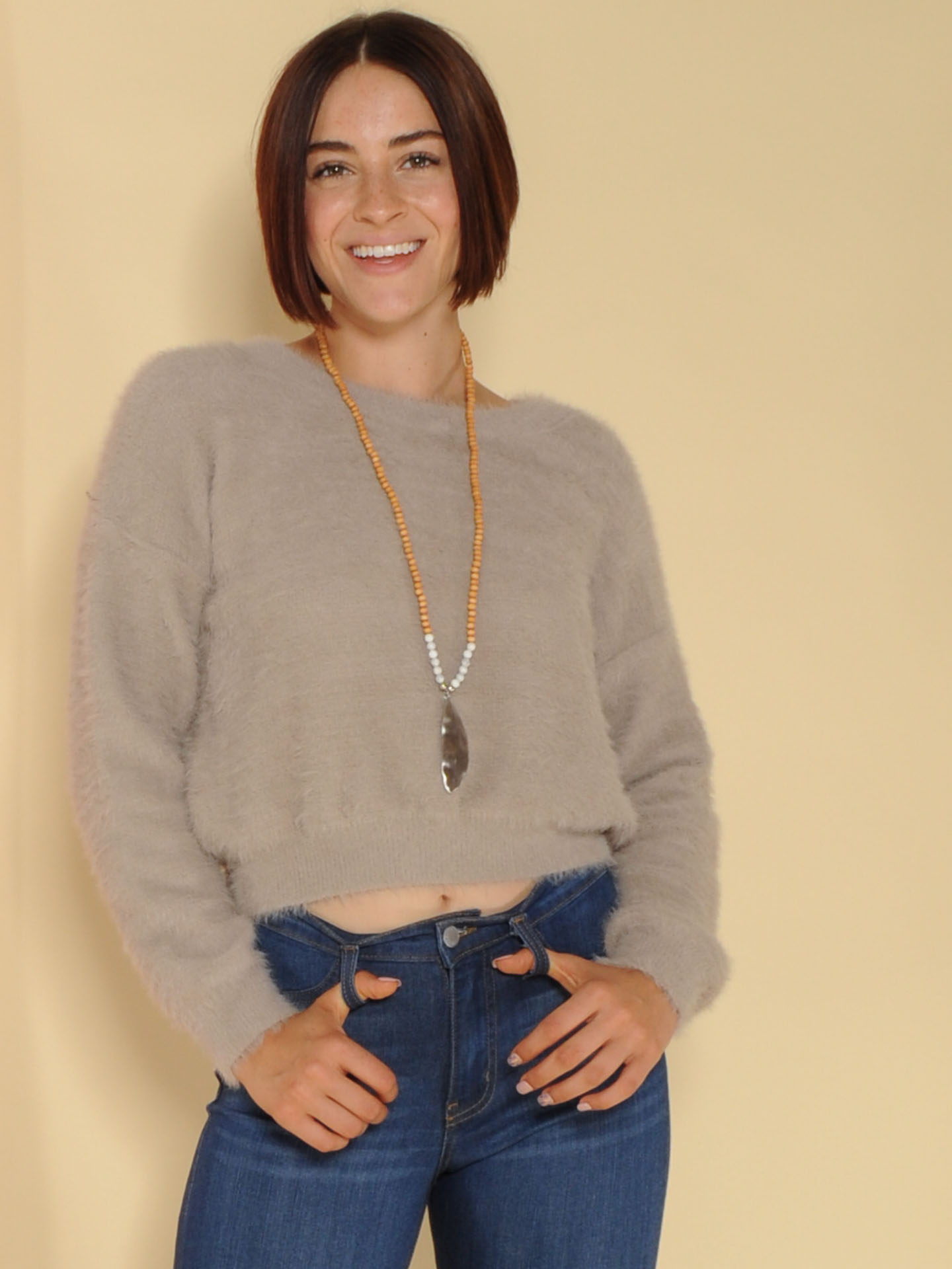 Lenora Sweater Furry Grey Long Sleeve Front
