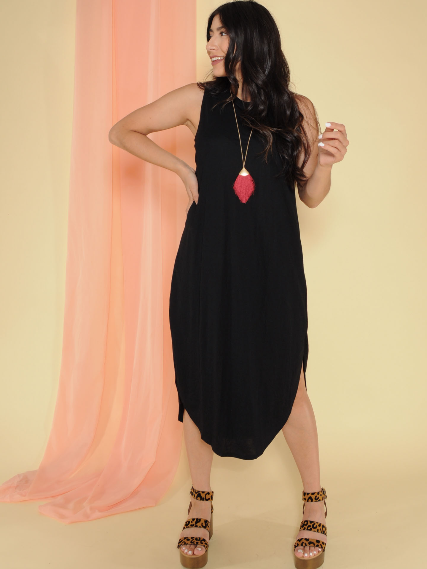 Jocelyn Dress Tank Maxi Basic Front Black