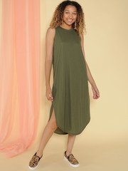 Jocelyn Dress Tank Maxi Basic Front Olive