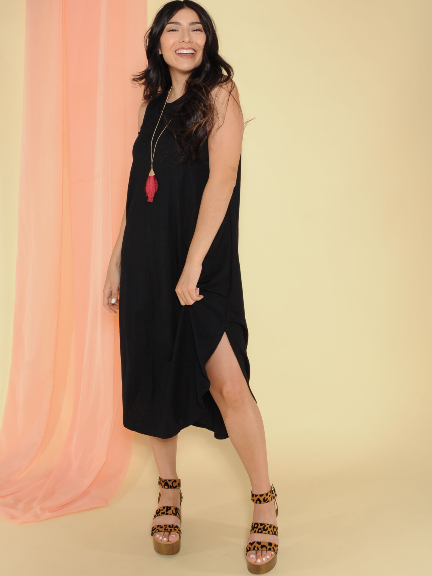 Jocelyn Dress Tank Maxi Basic Front Black 2