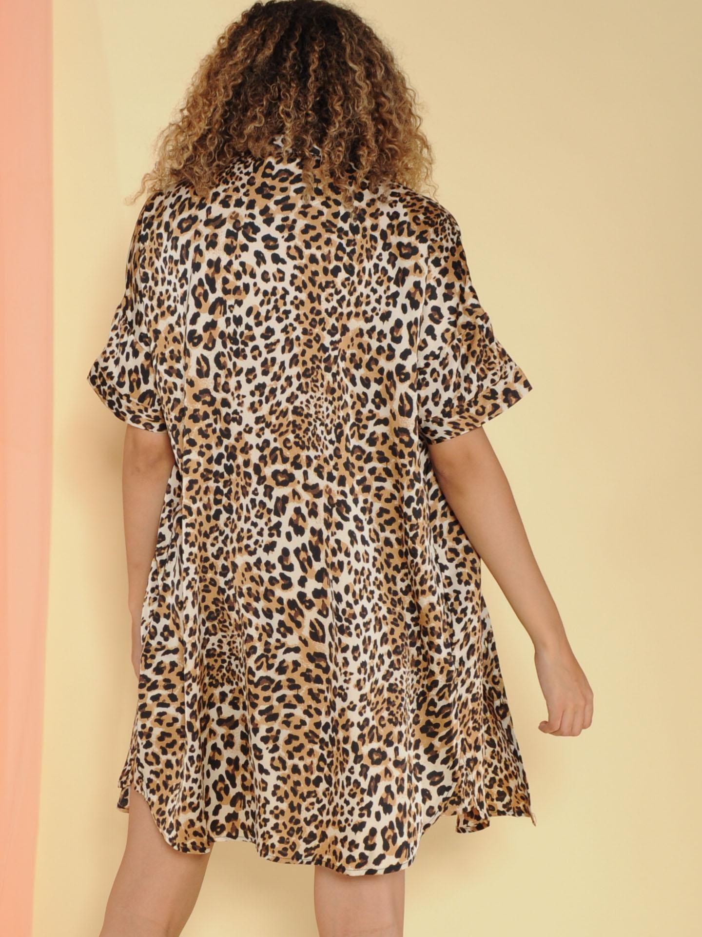 Javana Dress Leopard Button Up Cuffed Sleeve Dress  Back