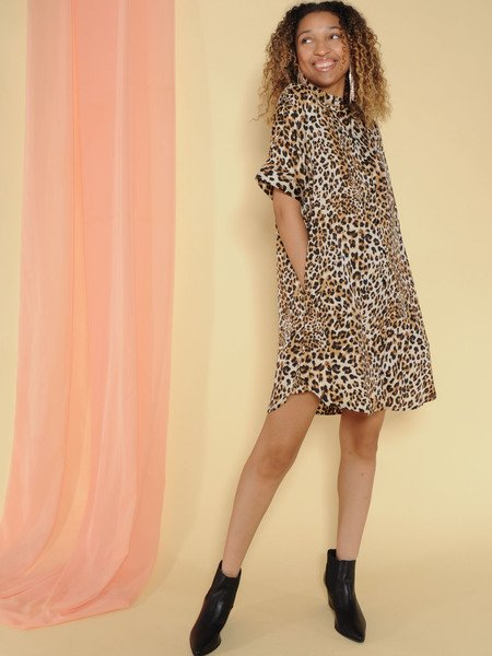 Javana Dress Leopard Button Up Cuffed Sleeve Dress