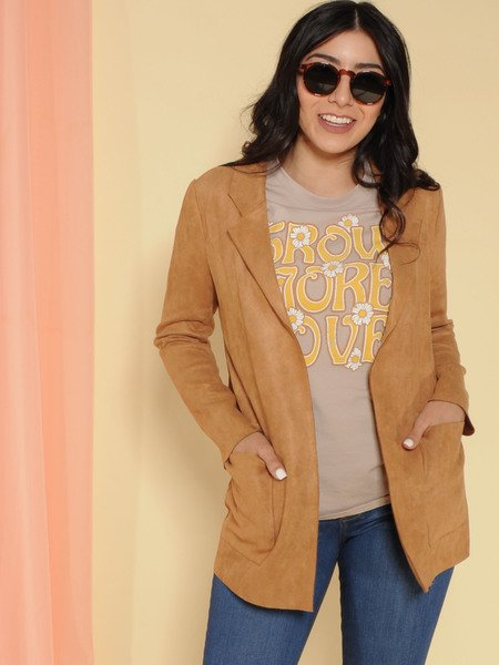 Work Day Jacket Faux Suede Blazer Front
