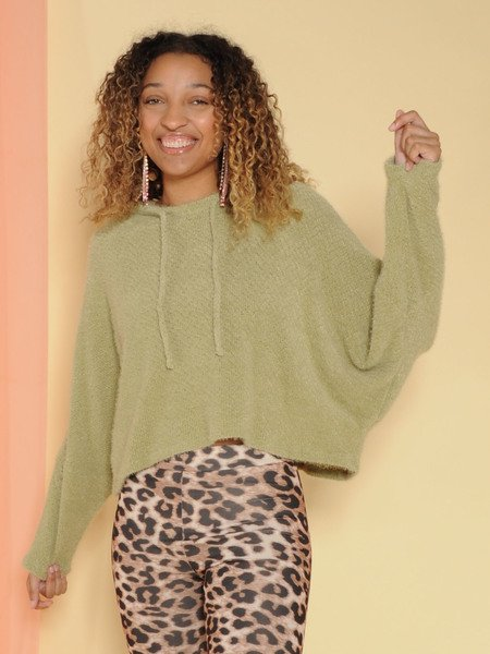 Fuzzi Sweater Soft Pullover Hoodie Sage