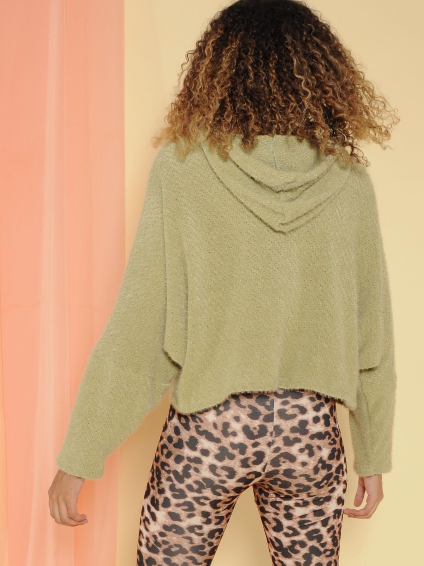 Fuzzi Sweater Soft Pullover Hoodie Sage