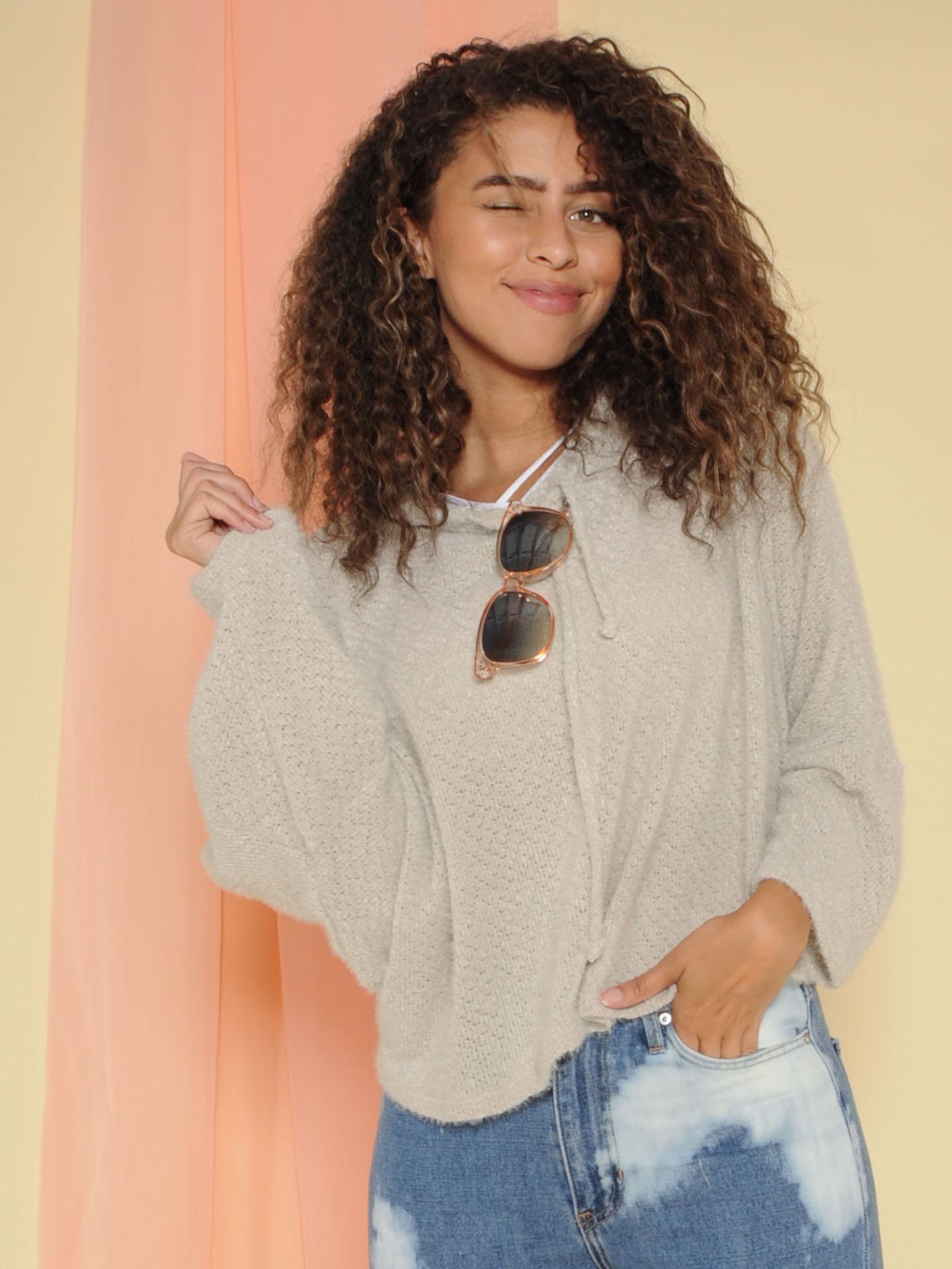Fuzzi Sweater Soft Pullover Hoodie Grey