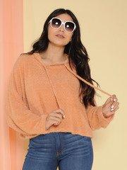 Fuzzi Sweater Soft Pullover Hoodie Salmon
