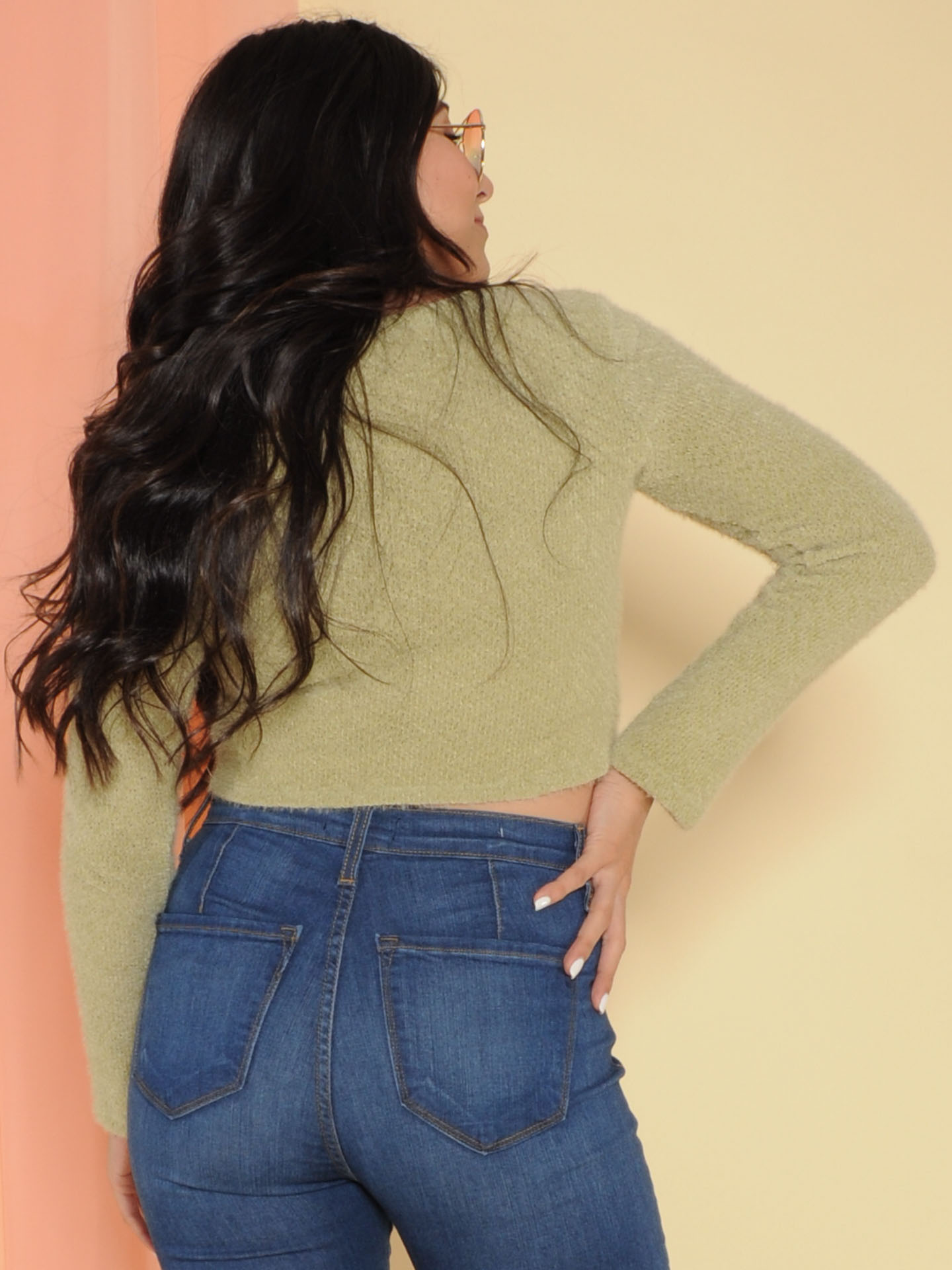 Cora Sweater Cropped Fuzzy Long Sleeve Sage
