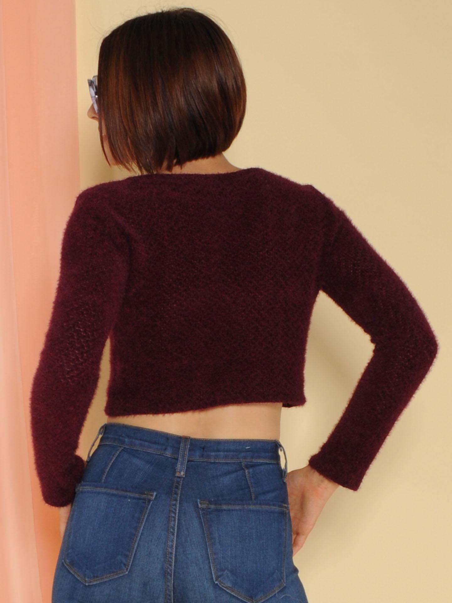 Cora Sweater Cropped Fuzzy Long Sleeve Wine