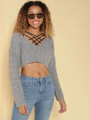 Shirley Sweater Cropped V Neck Grey