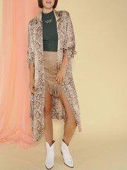Dina Trench Snake Print Sheer Robe Front