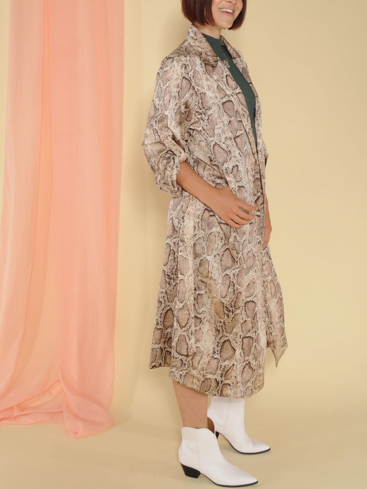 Dina Trench Snake Print Sheer Robe Side 2