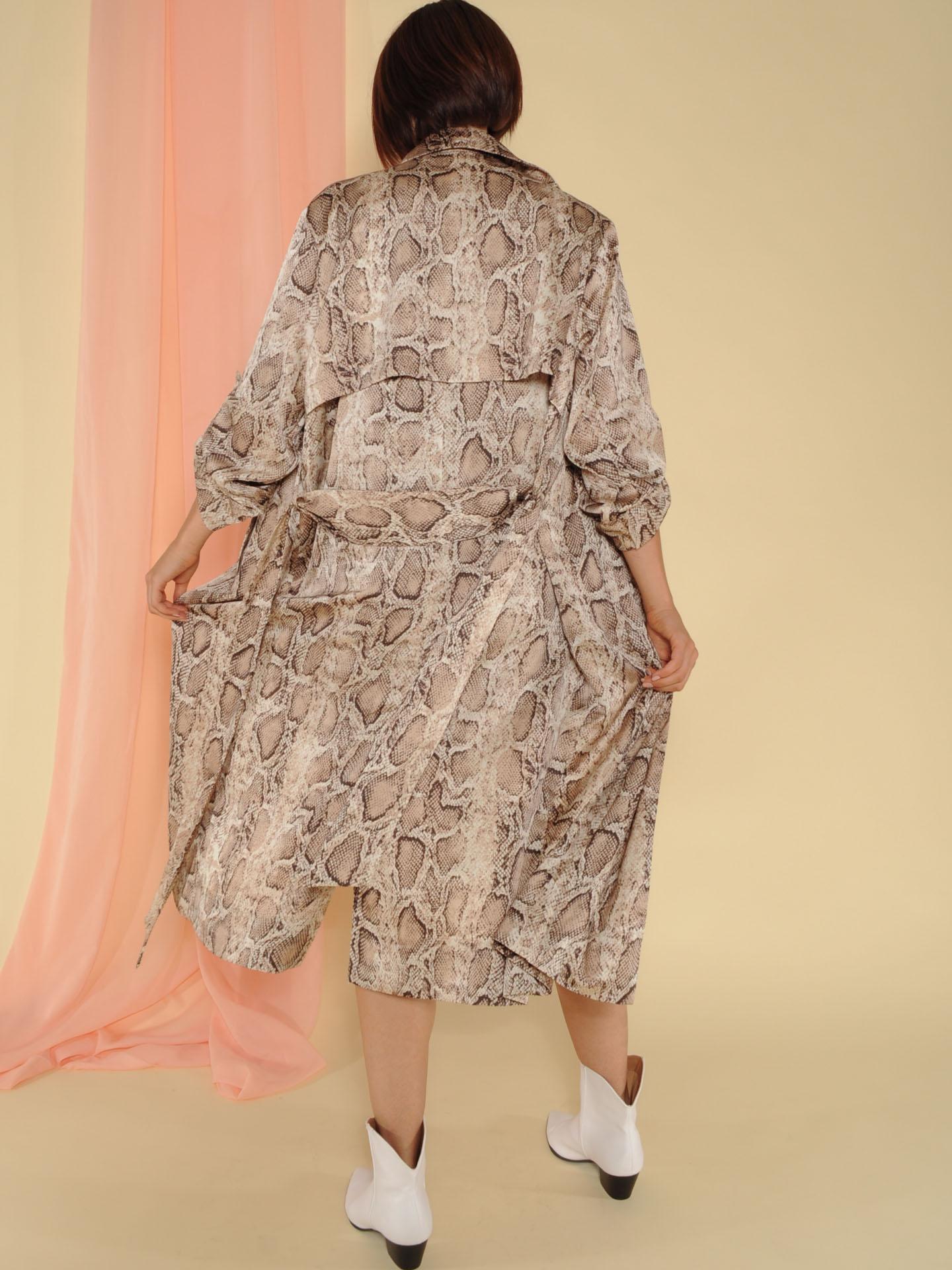 Dina Trench Snake Print Sheer Robe Back