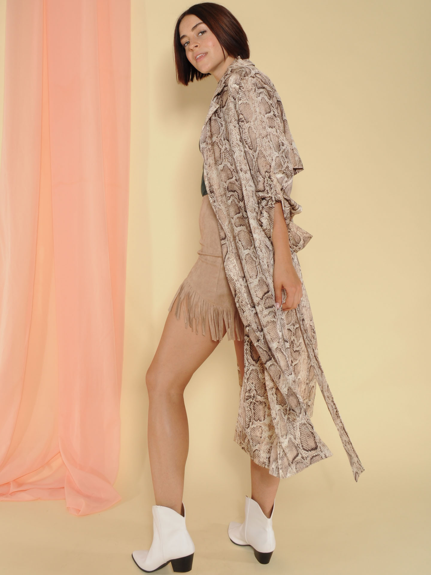 Dina Trench Snake Print Sheer Robe Side