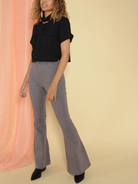 Rooney Denim Flares Elastic High Rise Grey Front