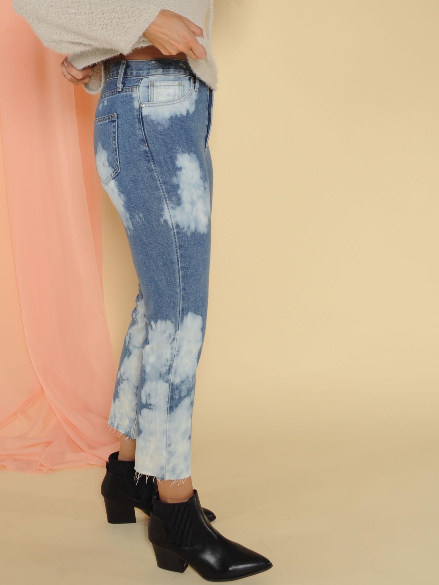 Bleached Style Boyfriend Lux Denim Cropped Jeans