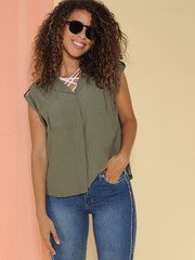 Julia Top Button Up Olive Cut Off Front