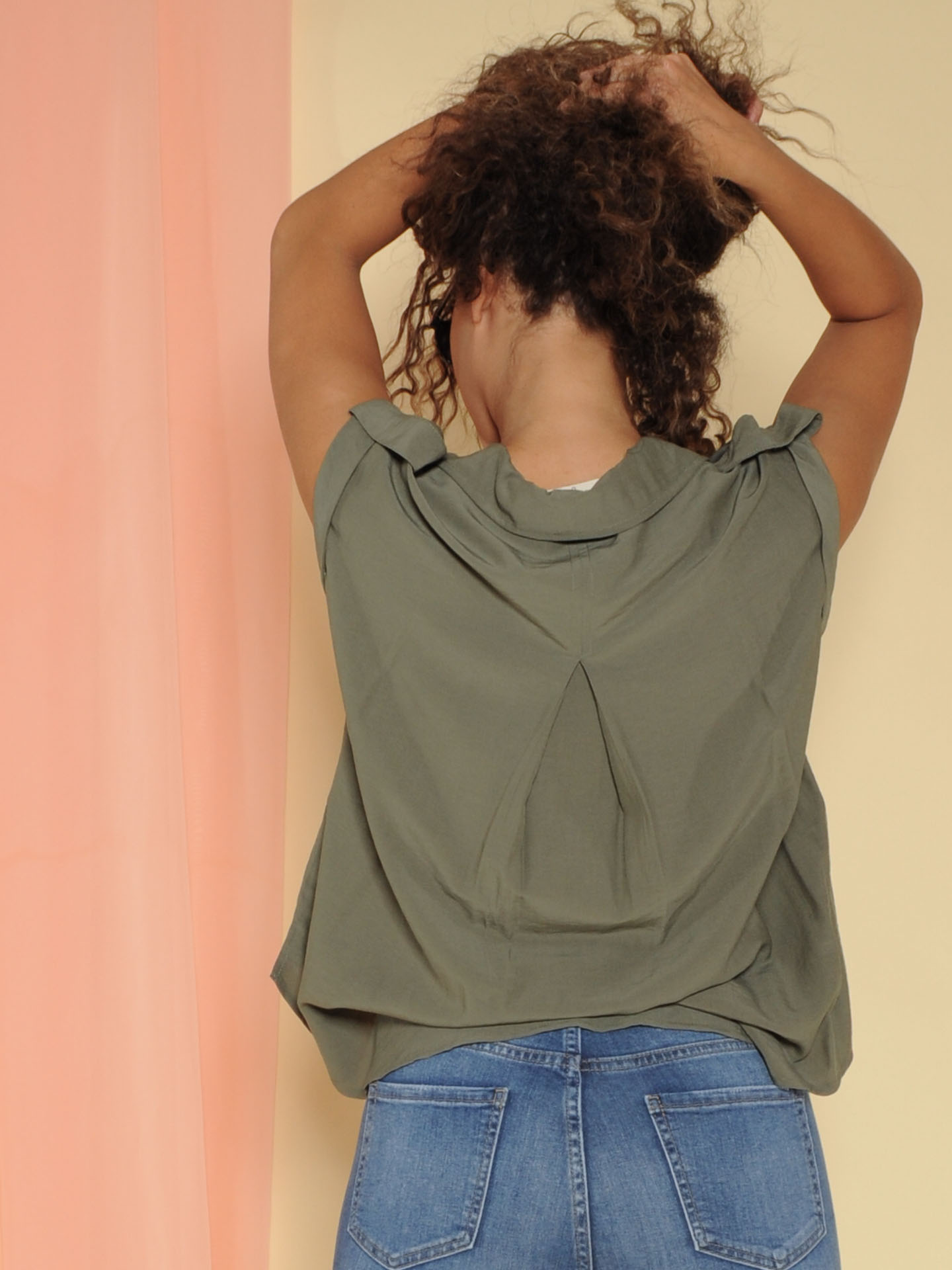 Julia Top Button Up Olive Cut Off Back