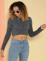 Trudy Sweater Super Soft Knit Crop Charcoal Front