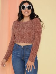 Trudy Sweater Super Soft Knit Crop Brownie Front