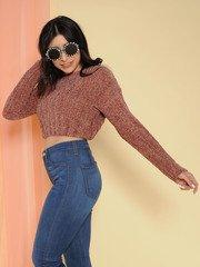 Trudy Sweater Super Soft Knit Crop Brownie Side