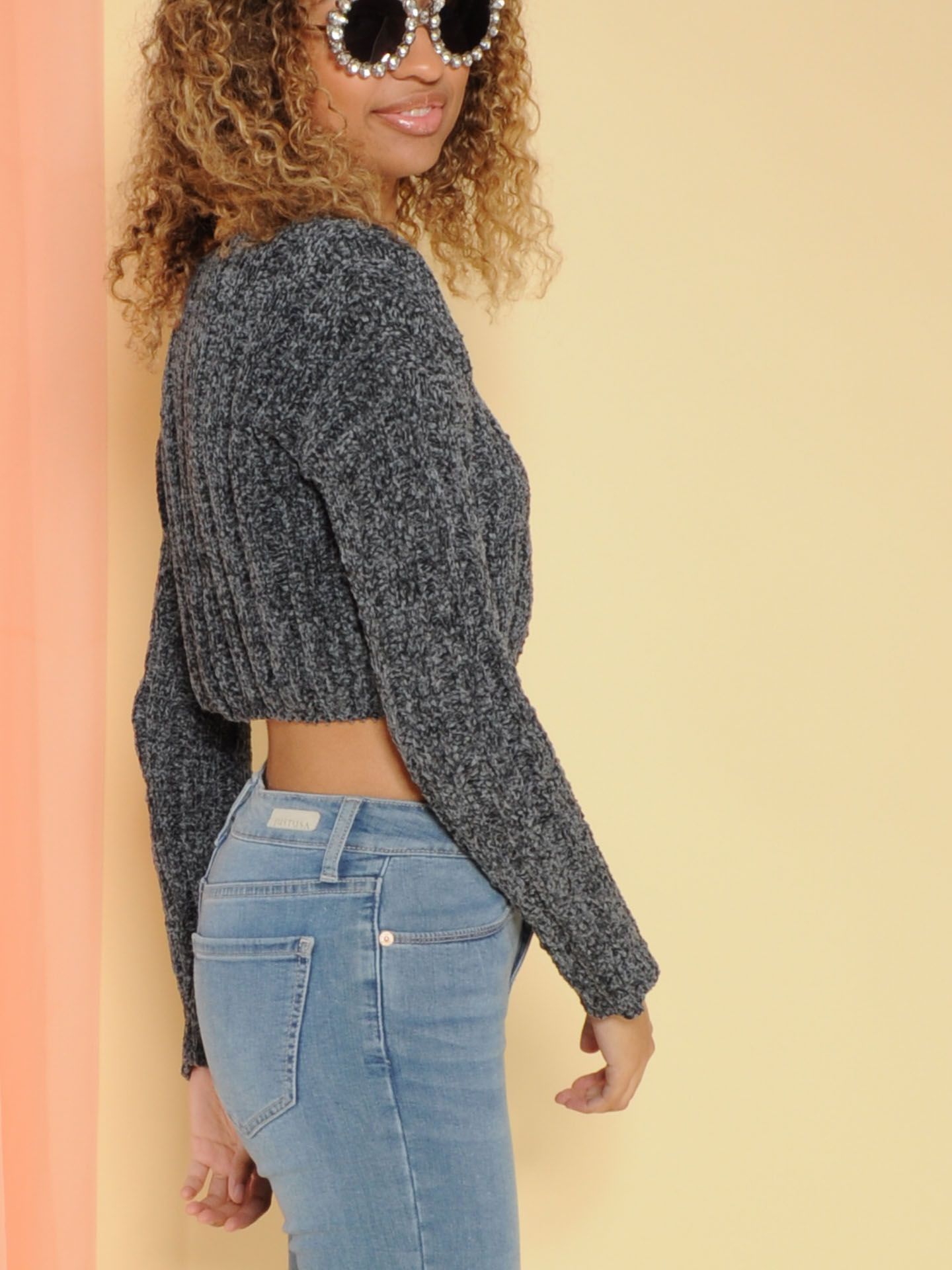 Trudy Sweater Super Soft Knit Crop Charcoal Side