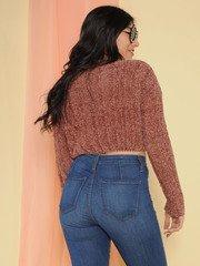 Trudy Sweater Super Soft Knit Crop Brownie Back