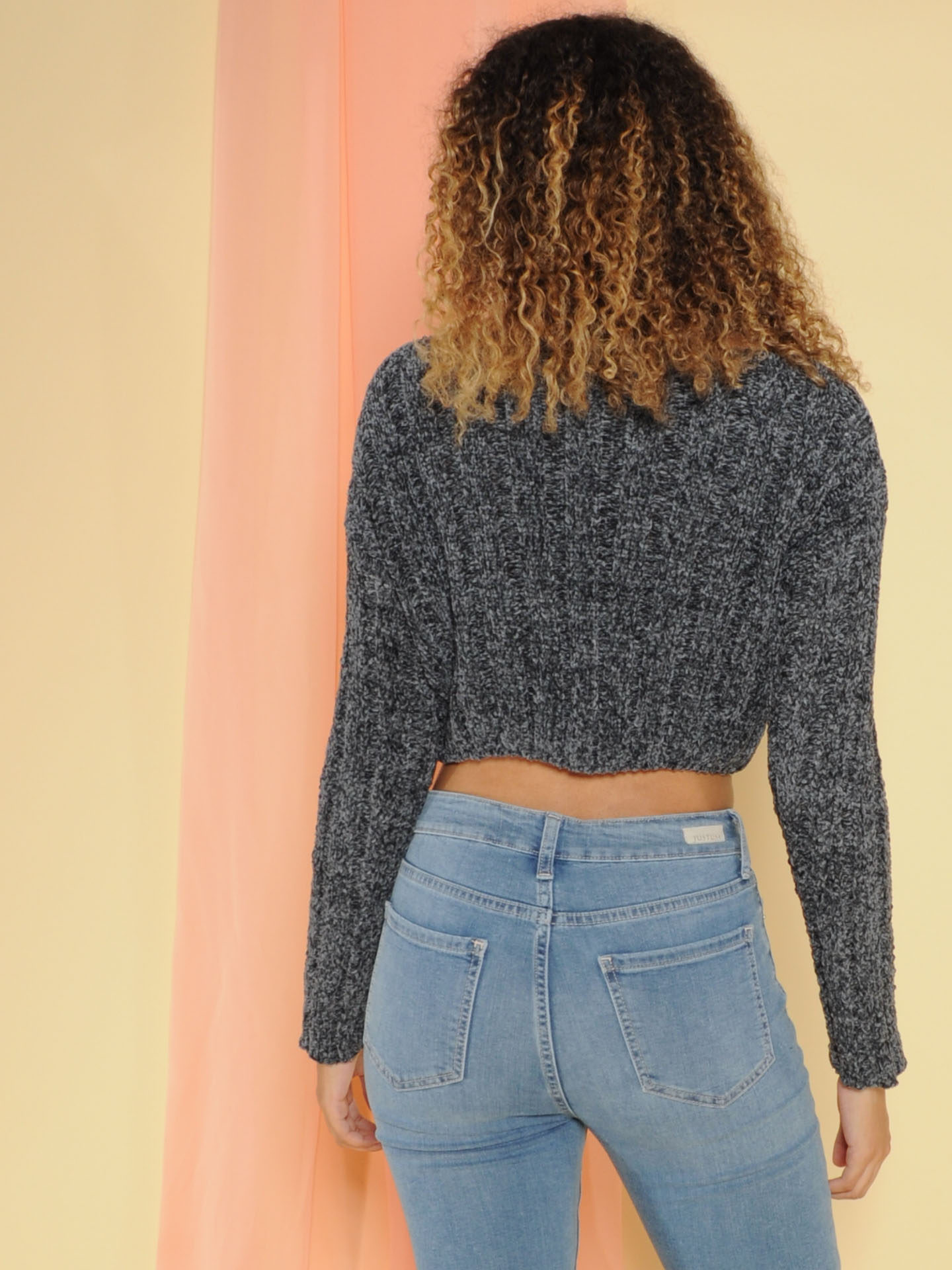Trudy Sweater Super Soft Knit Crop Charcoal Back