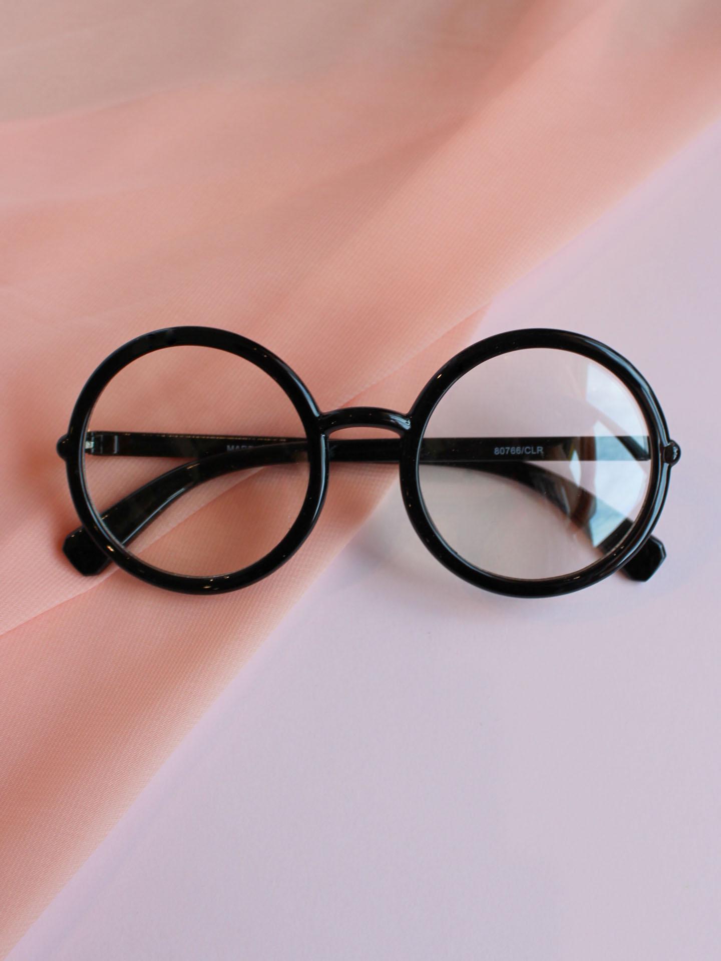 Cyrus Glasses Black Circle Clear Lenses