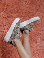 Maxmino Sneaker Beige/Black Snake