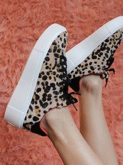 Maxmino Sneaker Camel/Black Leopard Close Up