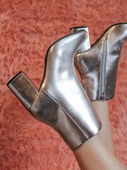 Malone Bootie Silver Heel Close Up