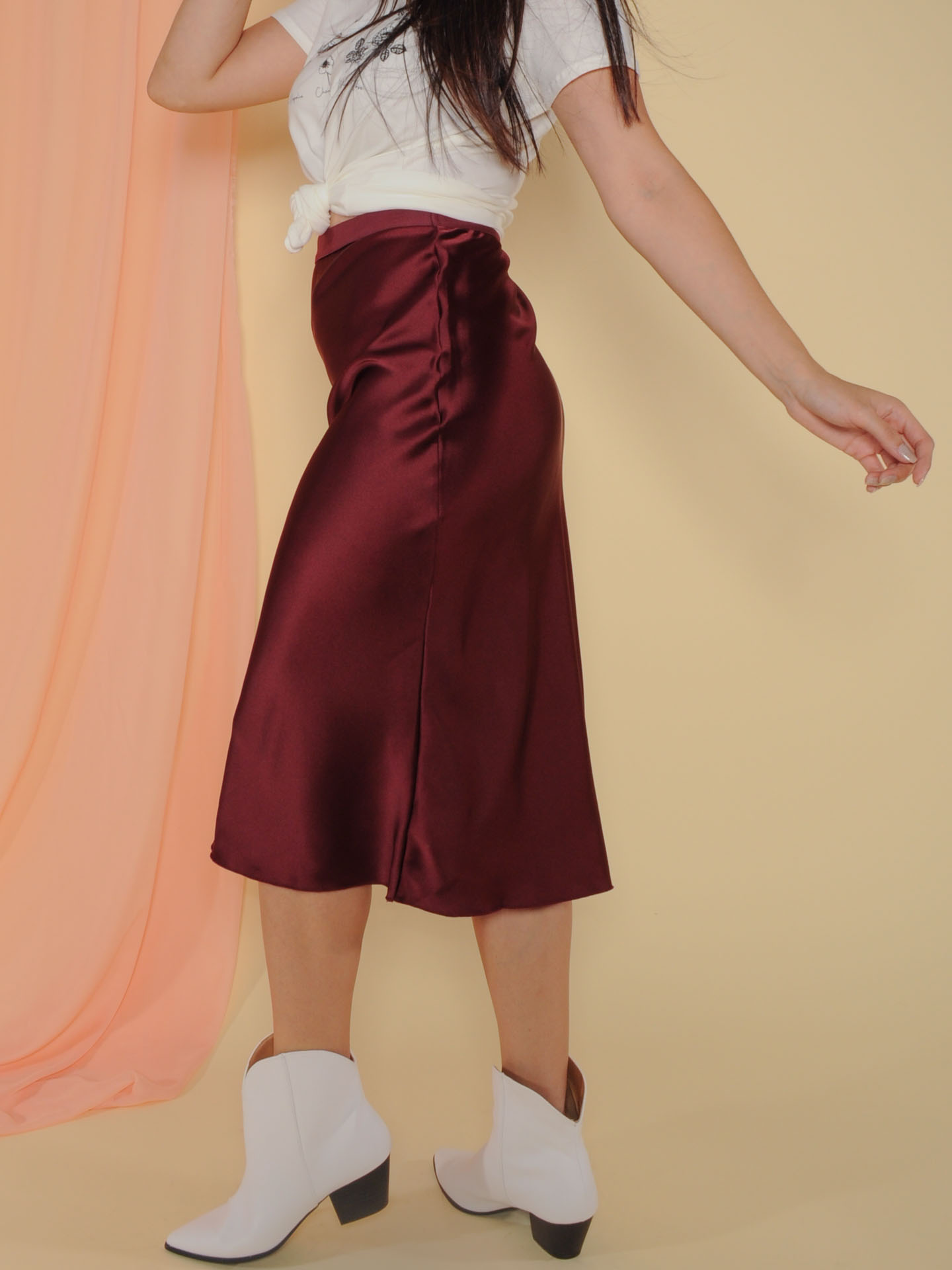 Superior Skirt Sleek and Satin Midi Burgandy Side