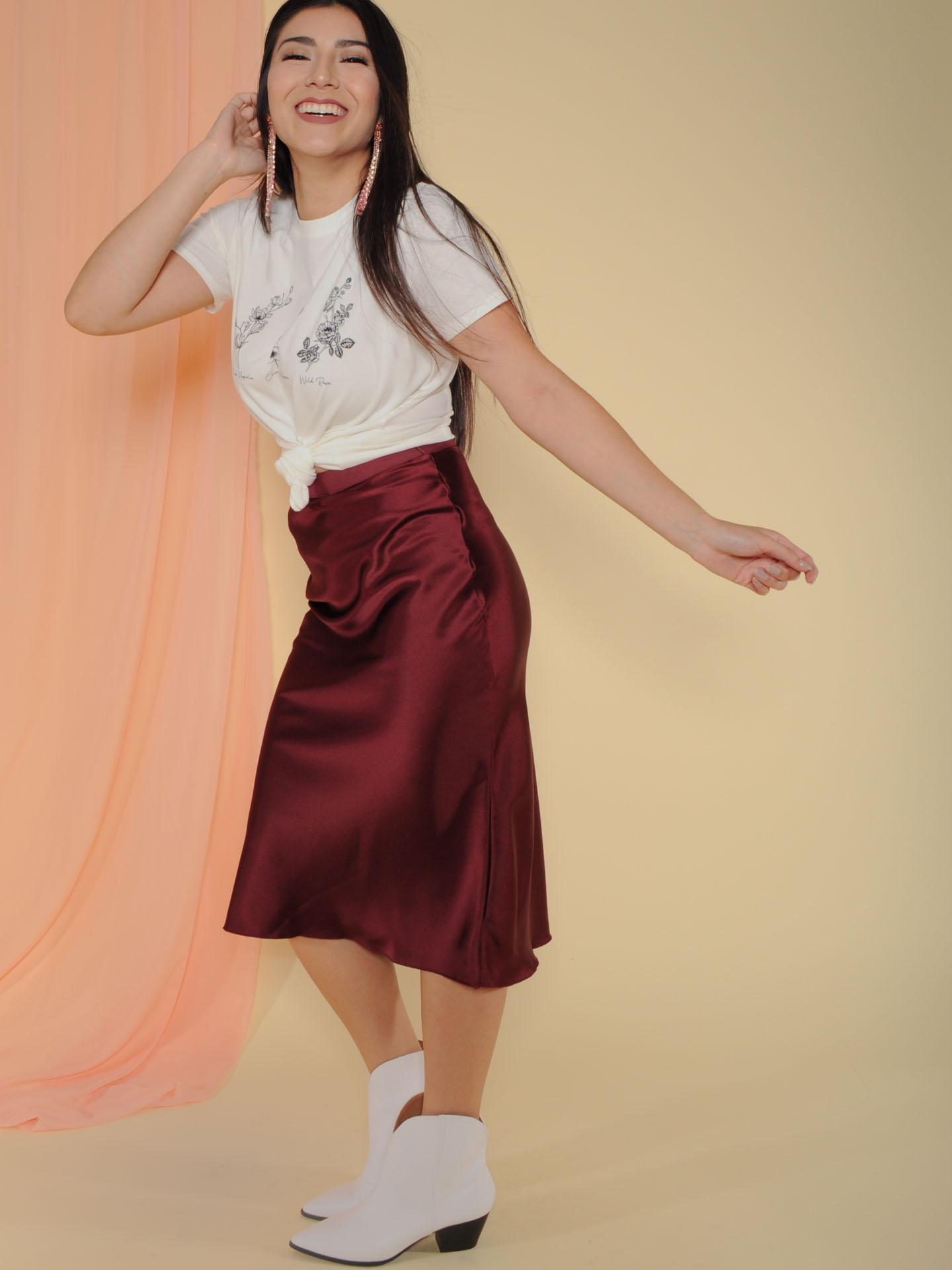 Superior Skirt Sleek and Satin Midi Burgandy Full