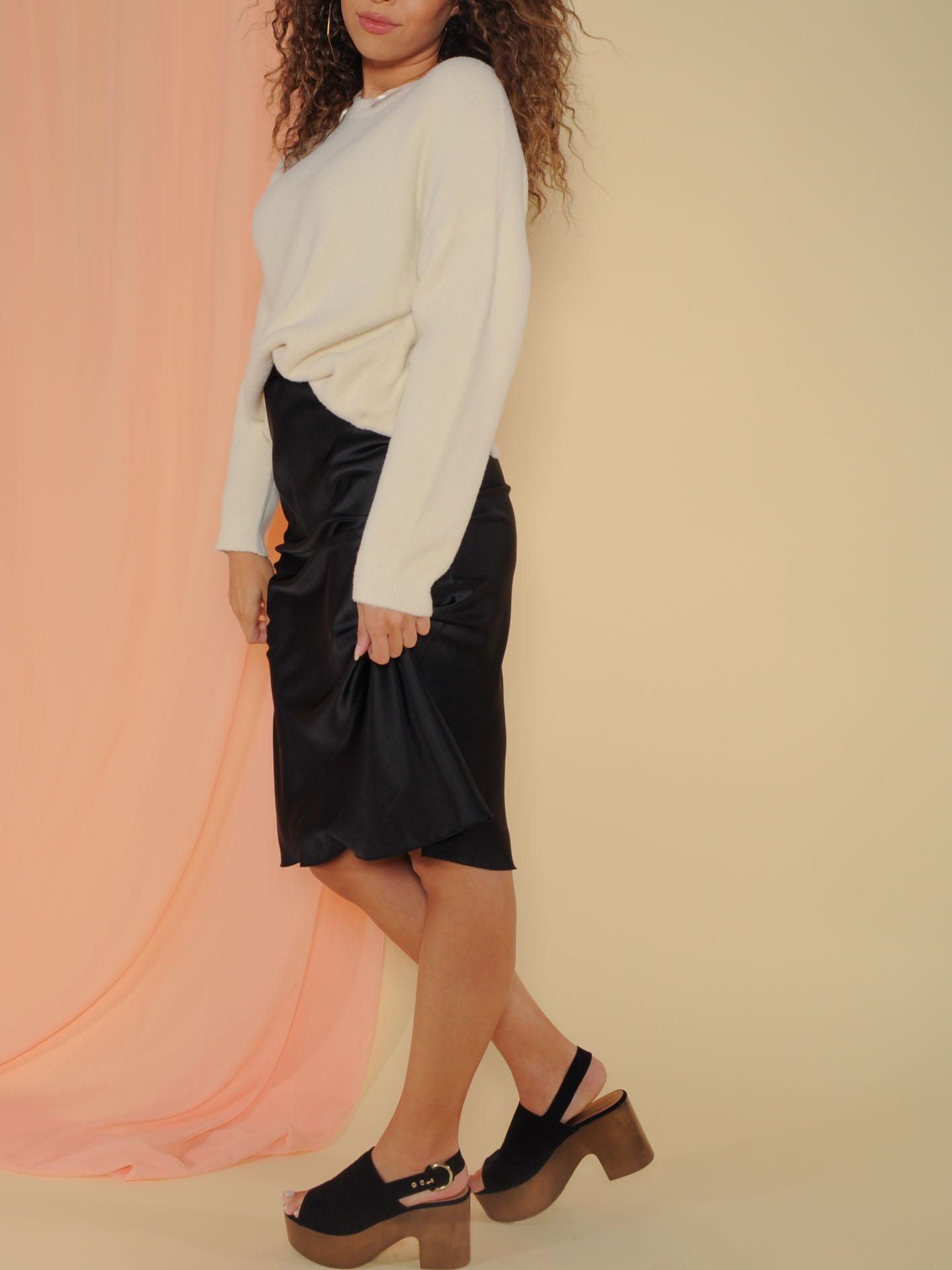 Superior Skirt Sleek and Satin Midi Black Side