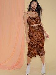 Femme Skirt Brown/Black Sating Midi Skirt Front