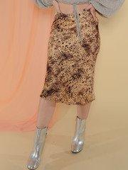 Femme Skirt Tan/Black Sating Midi Skirt Front