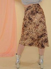 Femme Skirt Tan/Black Sating Midi Skirt Back View