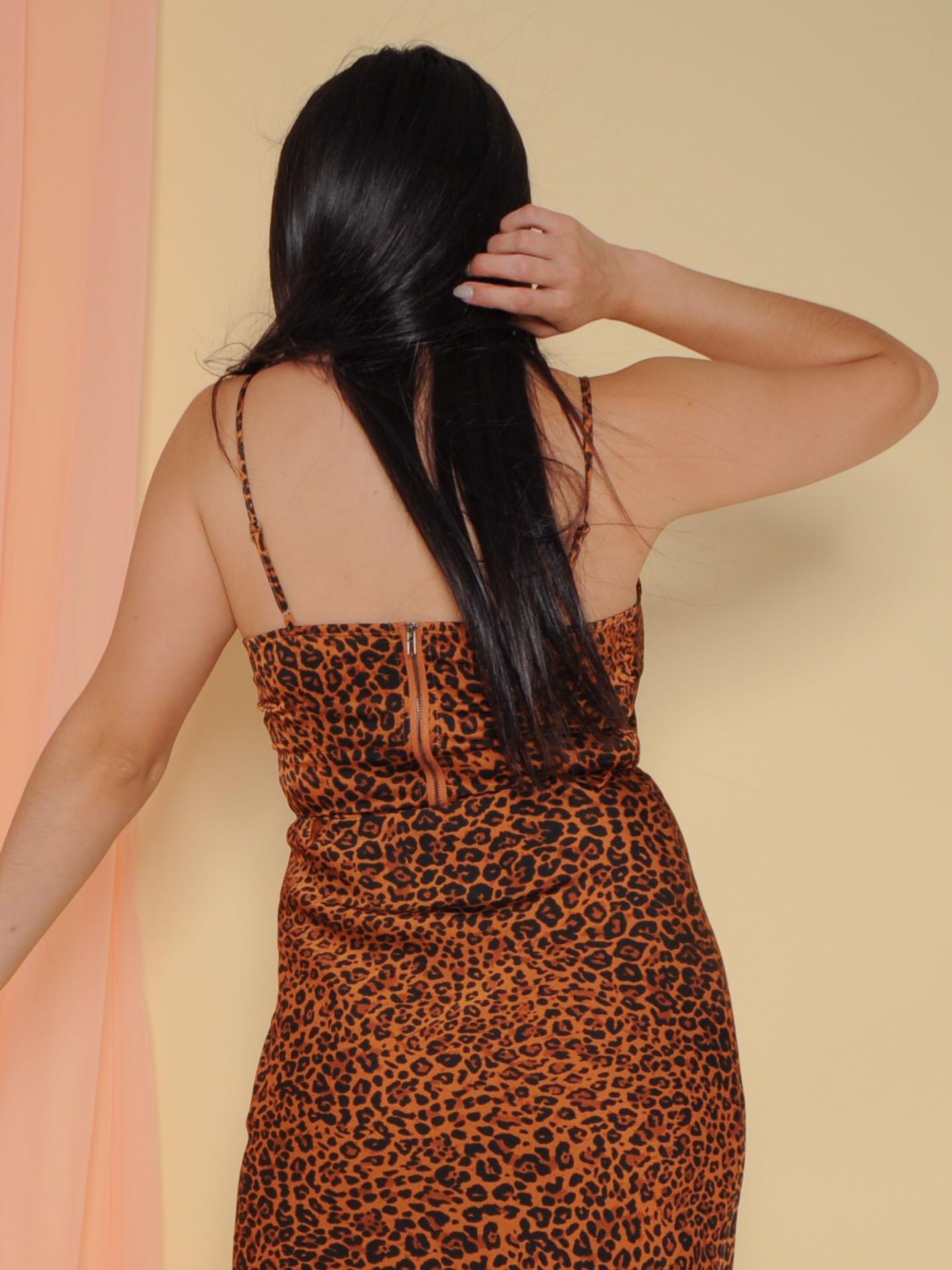 Femme Top Scoop Neck Crop Leopard Print Back