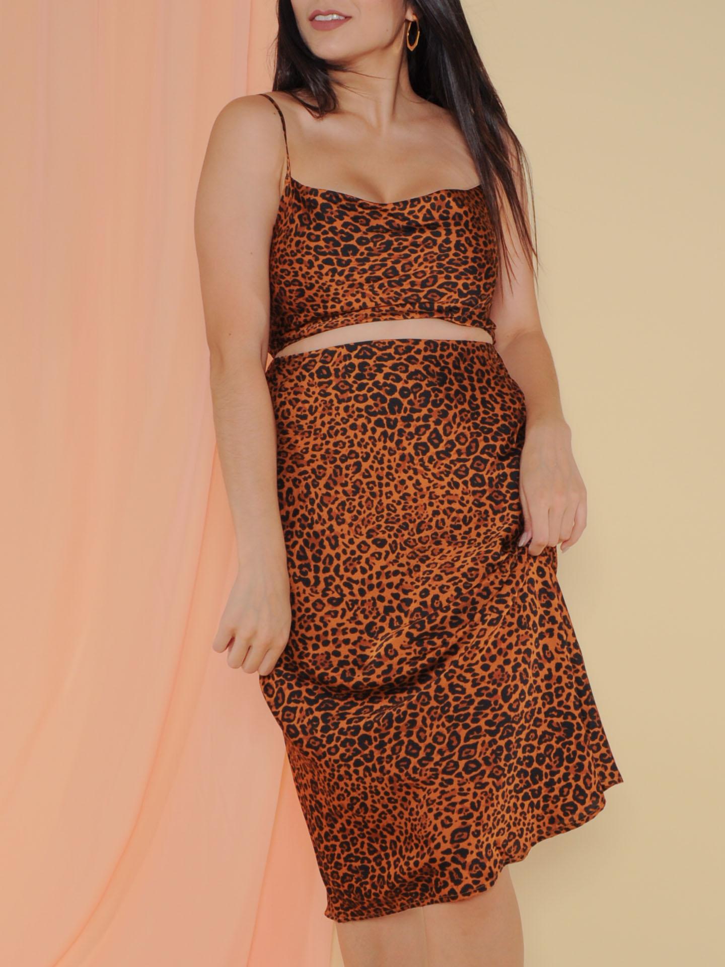 Femme Top Scoop Neck Crop Leopard Print Front