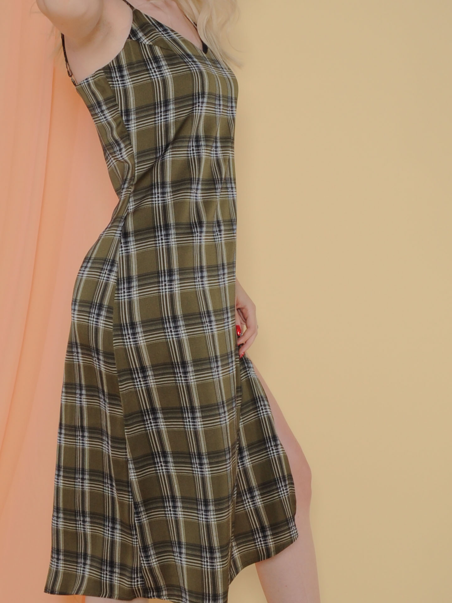 Becky Dress Midi Medras Plaid Olive Color Side