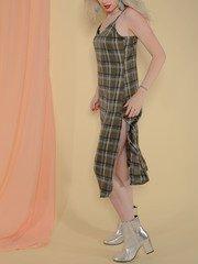 Becky Dress Midi Medras Plaid Olive Color Slit Side