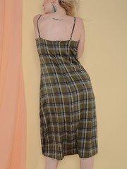 Becky Dress Midi Medras Plaid Olive Color Back