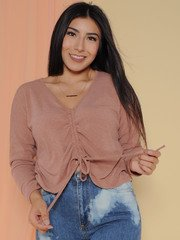 Haven Top - Drawstring Fall Sweater Crop Mauve Front