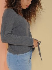 Haven Top - Drawstring Fall Sweater Crop Grey Side