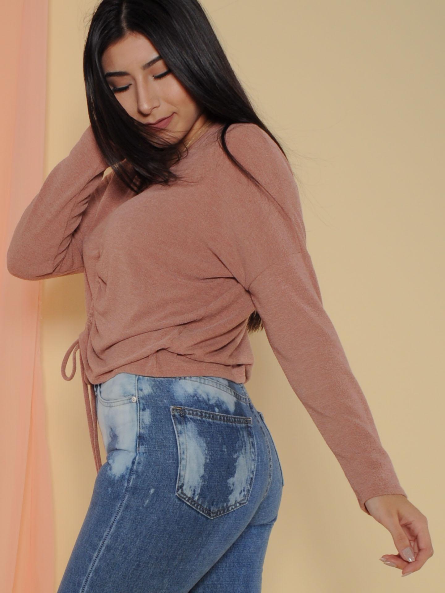 Haven Top - Drawstring Fall Sweater Crop Mauve Back