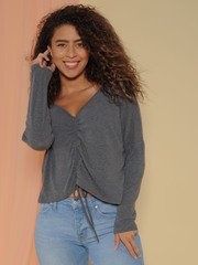 Haven Top - Drawstring Fall Sweater Crop Grey Front