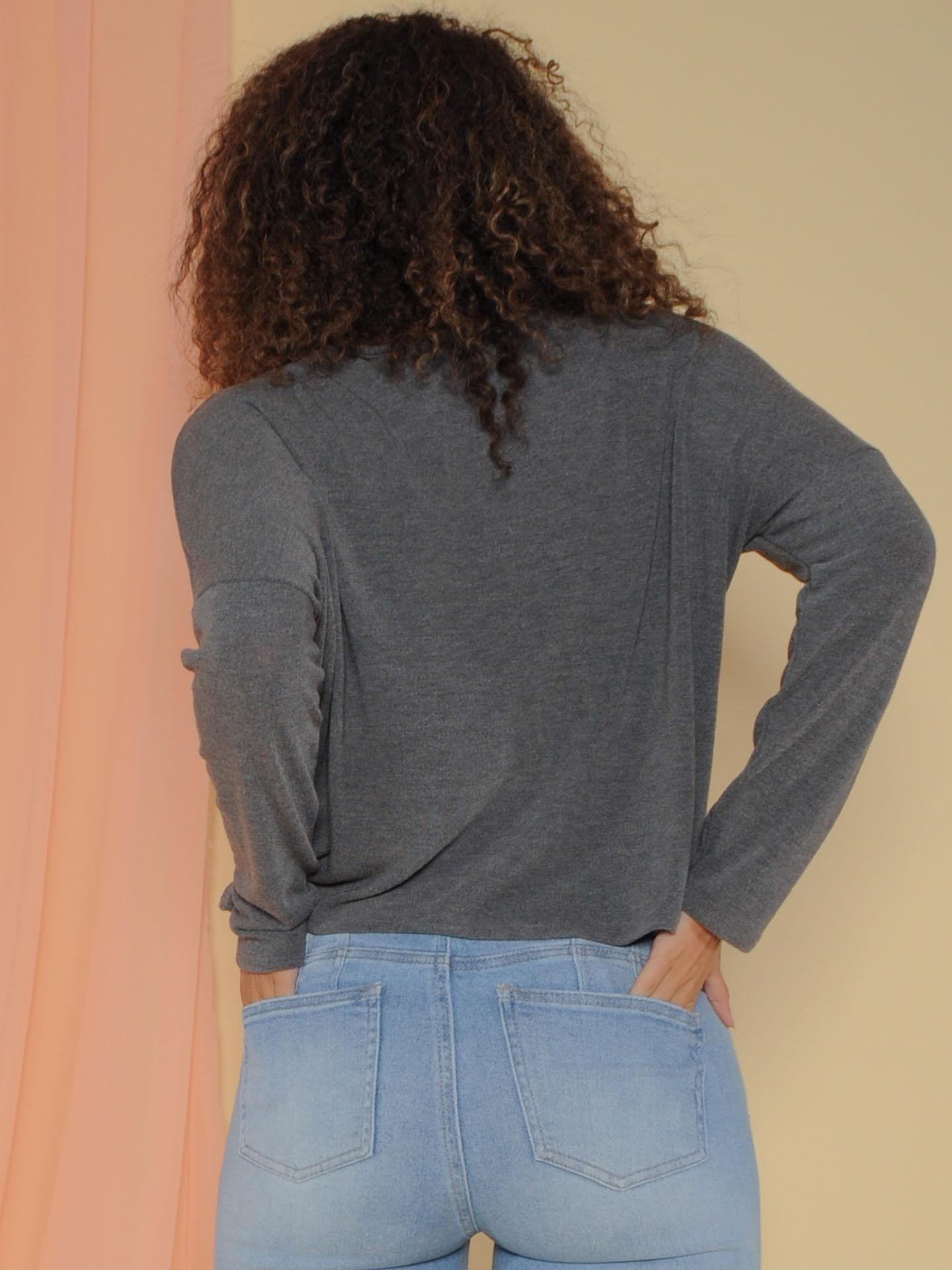 Haven Top - Drawstring Fall Sweater Crop Grey Back