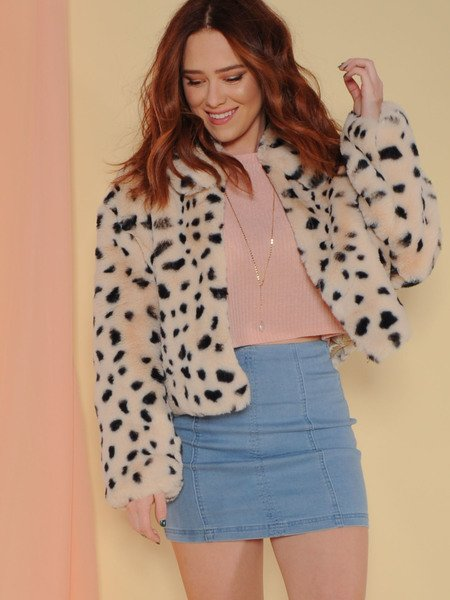 Snow Leopard Bomber Jacket Fuzzy Soft Spotted Layer Front